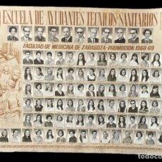Fotografía antigua: ESCUELA DE AYUDANTES TÉCNICOS SANITARIOS. FACULTAD DE MEDICINA DE ZARAGOZA.PROMOCIÓN 1968-1969.ORLA. Lote 283766993