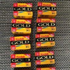 Fotografia antica: LOTE DE 12 CARRETES DE FOTOS KODAK GOLD 100 ASA 24EXP. Lote 286002403