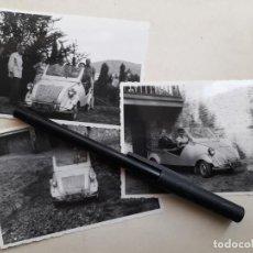 Fotografía antigua: TRES FOTOS DEL COCHE BISCUTER. AÑO 1955. MATRÍCULA BARCELONA.. Lote 287115298