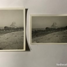 Photographie ancienne: PEÑÓN DE IFACH CALPE, ALICANTE. FOTOGRAFÍAS (2) VISTAS PANORÁMICAS DEL PEÑÓN (H.1960?). Lote 288218998