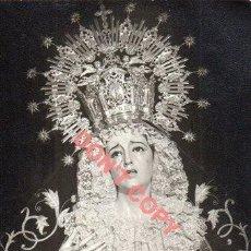 Fotografía antigua: SEMANA SANTA SEVILLA, ANTIGUA FOTOGRAFIA VIRGEN DE LOS DOLORES, SANTA CRUZ, 75X105MM. Lote 295489808