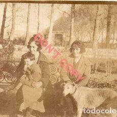 Fotografía antigua: ANTIGUA FOTOGRAFIA, MUJERES EN EL PARQUE, PERRO, 120X85MM. Lote 295491058