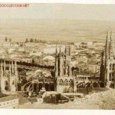 Fotografía antigua: FOTOGRAFÍA ANTIGUA DE BURGOS VISTA PANORÁMICA DESDE EL CASTILLO. CIRCA 1890 Y COFRE DEL CID AL DORSO. Lote 22399281
