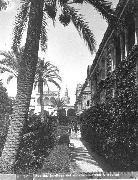FOTOGRAFÍA DE R. GARZÓN SEVILLA,JARDINES DEL ALCAZAR A FINALES DEL SIGLO XIX (Fotografía Antigua - Gelatinobromuro)