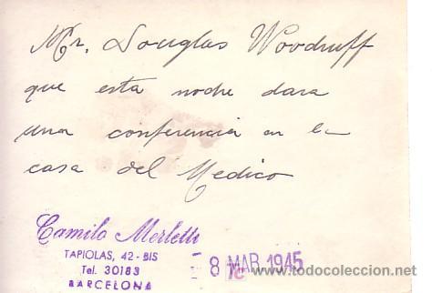 Fotografía antigua: mr. DOUGLAS WOODRUFF en Barcelona. foto: MERLETTI. Marzo 1945 - Foto 2 - 11416584