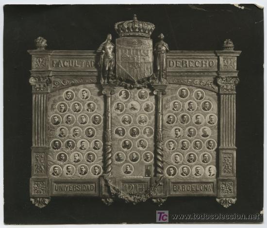 FACULTAD DE DERECHO. BARCELONA. UNIVERSIDAD. 1914. ORLA DE PROFESORES Y ALUMNOS. (Fotografía Antigua - Gelatinobromuro)