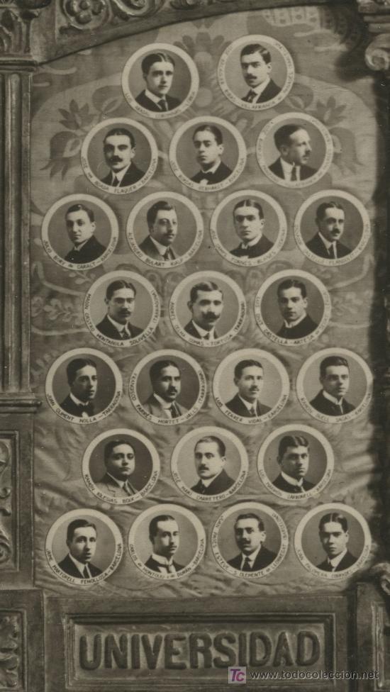 Fotografía antigua: FACULTAD DE DERECHO. Barcelona. Universidad. 1914. Orla de profesores y alumnos. - Foto 3 - 10001509