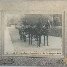 Fotografía antigua: CARRERAS DE CABALLOS. CABALLERO Y CARRUAJE. BARCELONA. F: G. SERRA. 10/05/1908. Lote 20587661