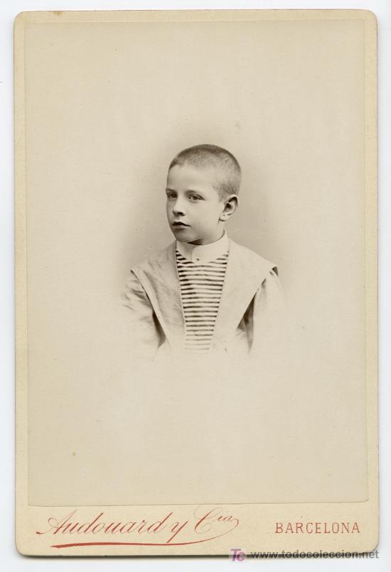 RETRATO DE NIÑO. PRECIOSA FOTOGRAFIA. FOT. AUDOUARD. BARCELONA, CIRCA 1885. (Fotografía Antigua - Gelatinobromuro)