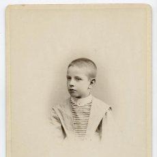Fotografía antigua: RETRATO DE NIÑO. PRECIOSA FOTOGRAFIA. FOT. AUDOUARD. BARCELONA, CIRCA 1885.. Lote 15110205
