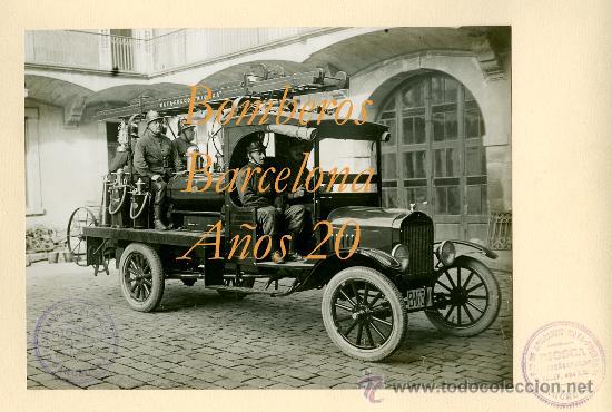 BOMBEROS DE BARCELONA - AÑOS 20 (Fotografía Antigua - Gelatinobromuro)