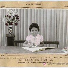 Fotografía antigua: ANTIGUA FOTO DE COLEGIO. ESCUELAS UNITARIAS DE SOMAHOZ. LOS CORRALES DE BUELNA, SANTANDER, CANTABRIA. Lote 27161789