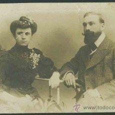 Fotografía antigua: MODERNISMO. PRECIOSO RETRATO DE BODA. FOT. F. AMER. BARCELONA . CIRCA 1895.. Lote 27481492