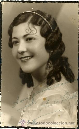 FOTO POSTAL ANTIGUA . ANITA VILLALBA. 1936 (Fotografía Antigua - Gelatinobromuro)