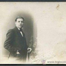 Fotografía antigua: JOVEN CABALLERO. FOTO J. ALONSO. BARCELONA. C. 1910. Lote 32561232
