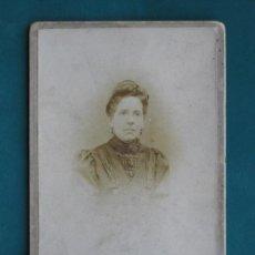 Fotografía antigua: RETRATO DEL FOTÓGRAFO D. PEDRO HERRERA A DÑA. ANTONIA VALLECILLO CON DEDICATORIA, HACIA 1890.. Lote 33050585