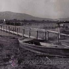 Fotografía antigua: DELTA DEL EBRO. BARCAS. ENCANYISSADA. GOLA DE SANT PERE-2. SISTEMA DE PESCA. C. 1965. Lote 36563226