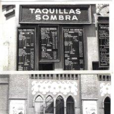 Fotografía antigua: PAREJA DE FOTOGRAFIAS, PLAZA MONUMENTAL DE BARCELONA, DETALLE CARTEL Y PRECIO ENTRADAS TAQUILLAS. . Lote 39934533