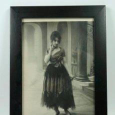 Fotografía antigua: RETRATO DE MODELO, MODA FRANCESA, 1915'S. PARIS. FOTO 18X28CM. MARCO: 24X33 CM.. Lote 40479826