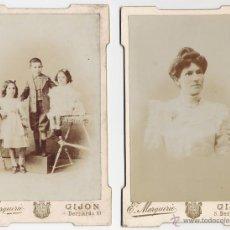 Fotografía antigua: LOTE DE DOS. MARQUERIE GIJON SIGLO XIX. Lote 41746602