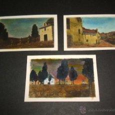 Fotografía antigua: TORREBLANCA CASTELLON 3 FOTOGRAFIAS AÑOS 20, COLOREADAS. EL CALVARIO Y CALLE . Lote 42558268