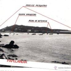 Fotografía antigua: FOTOGRAFIA DEL PINDO (CORUÑA) DETALLE DE OBRAS REALIZADAS EN EL PUERTO. AÑOS 50. Lote 42597470