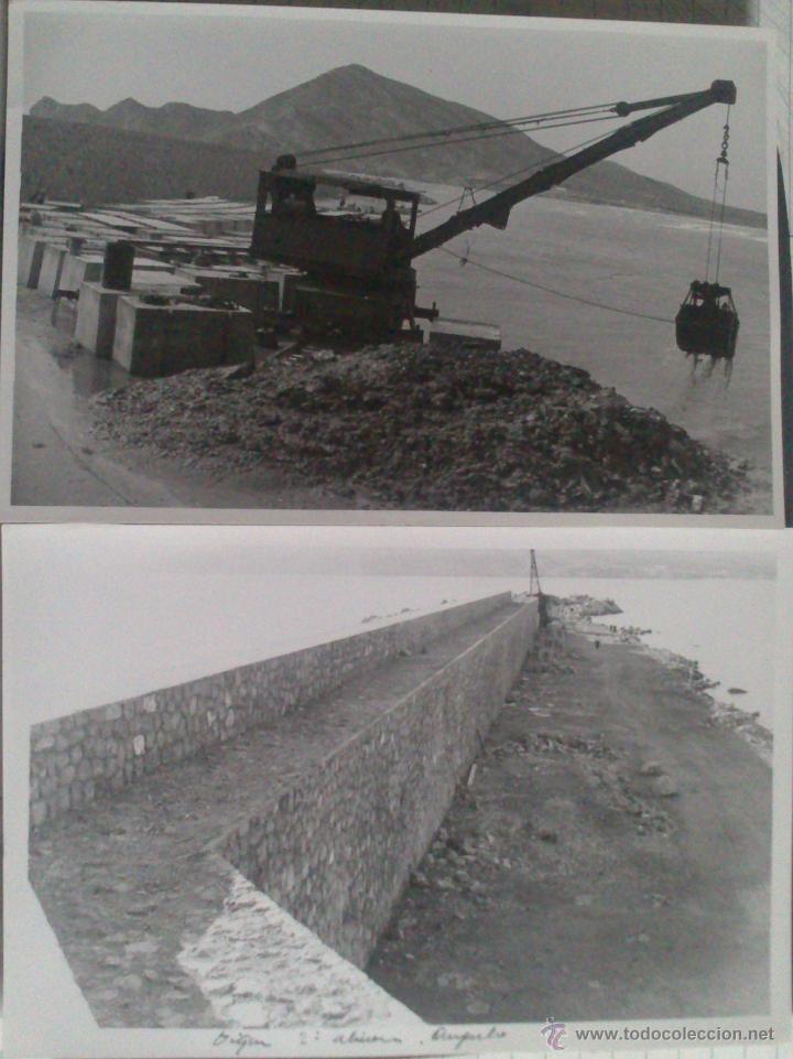 DOS FOTOGRAFIAS ALTEA (ALICANTE), CONSTRUCCION DIQUE PUERTO ALTEA, 12 X 18 CM, AÑO 53 (Fotografía Antigua - Gelatinobromuro)
