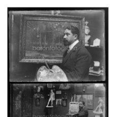 Fotografía antigua: EL PINTOR CASTO OLIVER FERRER - BARCELONA 1900 APROX. LOTE DE 18 CRISTALES NEGATIVOS 9X12CM. VER. Lote 44152398