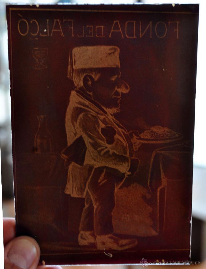 Fotografía antigua: MUY RARA FOTOGRAFÍA EN CRISTAL DE LA FONDA DEL FALCO. PRINCIPIOS SIGLO XX - Foto 3 - 44333585