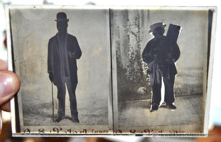 FOTOGRAFÍA EN CRISTAL DE UNOS PERSONAJES DE PRINCIPIOS SIGLO XX (Fotografía Antigua - Gelatinobromuro)