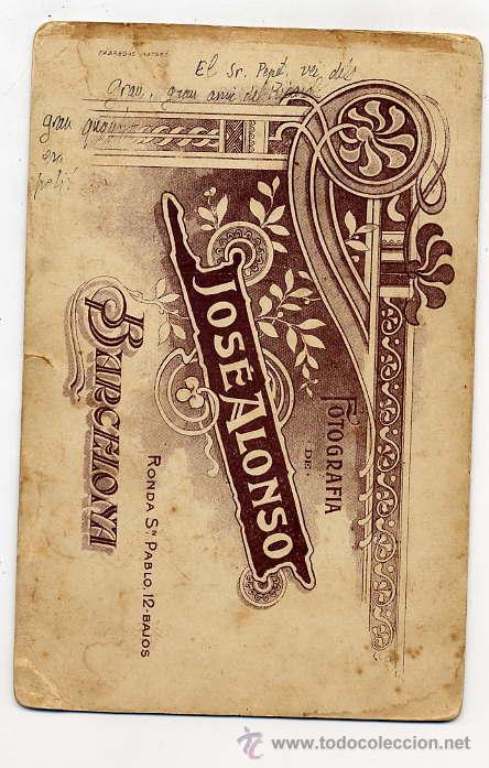 Fotografía antigua: FOTO ALONSO BARCELONA RETRATO SEÑOR TAMAÑO IMPERIAL CON REVERSO - Foto 2 - 47281644