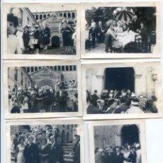 Fotografía antigua: SANTILLANA DEL MAR, CANTABRIA. BODA DE POSTÍN EN LA COLEGIATA, AÑOS 50, SEIS FOTOS DE 7,5X10,5 CM. Lote 51723638