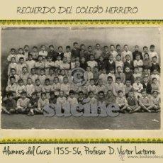 Fotografía antigua: MAGNIFICA AMPLIACION 24X30 ALUMNOS COLEGIO HERRERO CASTELLON CURSO 1955-56. Lote 52136316