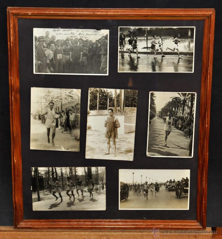 CONJUNTO 7 FOTOGRAFÍAS ATLETISMO. EQUIPO CAMPEÓN DE ESPAÑA DE CROSS COUNTRY A.E.TAGAMANENT.1933-1934 (Fotografía Antigua - Gelatinobromuro)