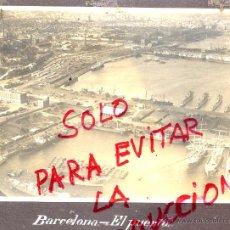 Fotografía antigua: BARCELONA EL PUERTO VISTA AEREA 1930-40 FOTO 12 X 17 CM: MONTADA SOBRE CARTON ALBUM. Lote 52958840