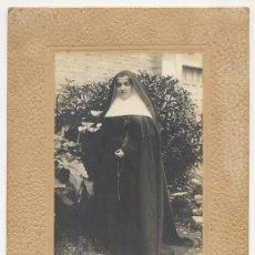 Fotografía antigua: RETRATO DE MONJA CON ROSARIO Y CRUCIFIJO. FOTO ROLDAN TUDELA NAVARRA SIGLO XIX RELIGION. Lote 53026057