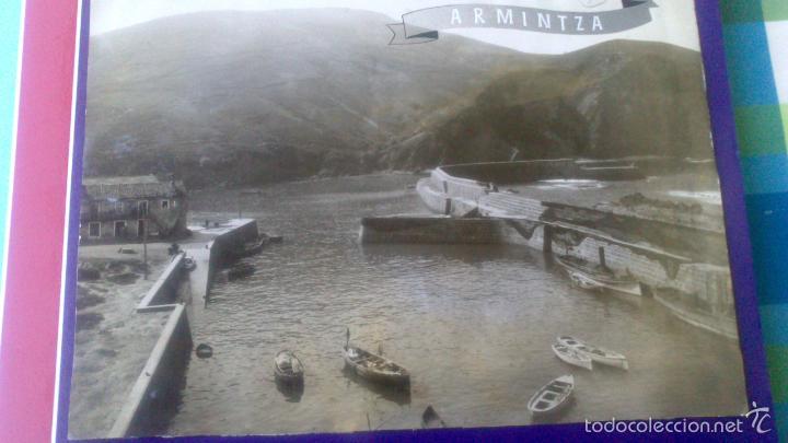 ANTIGUA FOTOGRAFIA ARMINTZA, LEMONIZ, VIZCAYA 23 X 17,5 CM, VISTA PUERTO, AÑO 1940 (Fotografía Antigua - Gelatinobromuro)