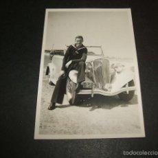 Photographie ancienne: BARCELONA SOLDADO MARINA CON AUTOMOVIL COCHE VEHICULO FIAT BALILLA MATRICULA B-58901 AÑO 1940. Lote 58072265