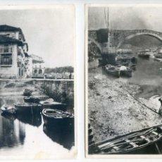 Fotografía antigua: ONDARROA, VIZCAYA, 2 FOTOS ANTIGUAS, PUERTO, COPIAS DE LOS AÑOS 50 O 60, 17,5X13 CM.. Lote 63396880