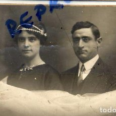 Fotografía antigua: FOTO GARRIGOSA -BARCELONA RETRATO BODA TAMAÑO POSTAL CON REVERSO. Lote 63689479