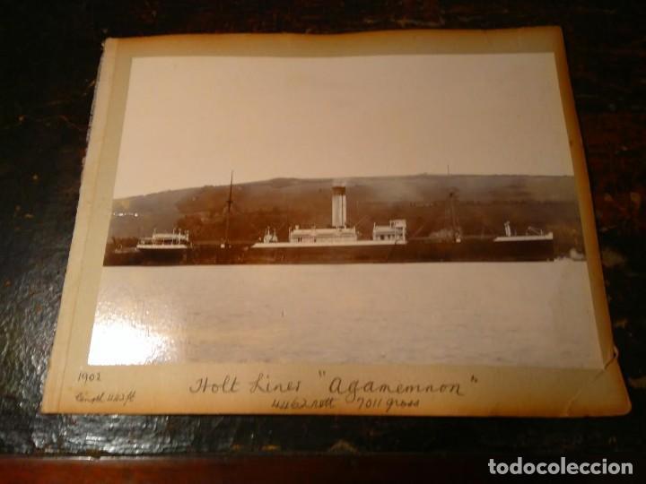 FOTOGRAFÍA ANTIGUA DE BARCO 1902. TRES EN UNA HOJA DE ALBUM: BARCO DE LA HOLT LINES AGAMEMNON, ETC (Fotografía Antigua - Gelatinobromuro)