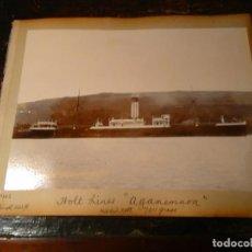 Fotografía antigua: FOTOGRAFÍA ANTIGUA DE BARCO 1902. TRES EN UNA HOJA DE ALBUM: BARCO DE LA HOLT LINES AGAMEMNON, ETC. Lote 63698219