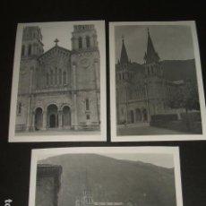 Fotografía antigua: COVADONGA ASTURIAS BASILICA 3 FOTOGRAFIAS 1948. Lote 64790643