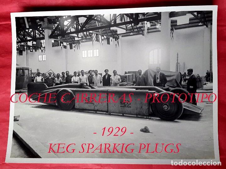 COCHE CARRERAS - PROTOTIPO - 1929 - KEG SPARKIG PLUGS - BARCELONA (Fotografía Antigua - Gelatinobromuro)