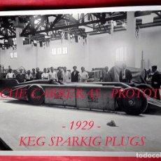 Fotografía antigua: COCHE CARRERAS - PROTOTIPO - 1929 - KEG SPARKIG PLUGS - BARCELONA . Lote 67737649