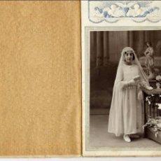 Fotografía antigua: FOTO ALONSO BARCELONA RETRATO PRIMERA COMUNION TAMAÑO POSTAL. Lote 68668945