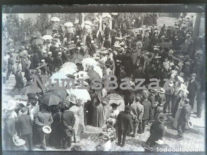 NEGATIVO PLACA CRISTAL - GELATINO-BROMURO DE ARGENTA - 9 X 12 CM. - AÑO 1910 - MERCADILLO O FERIA (Fotografía Antigua - Gelatinobromuro)