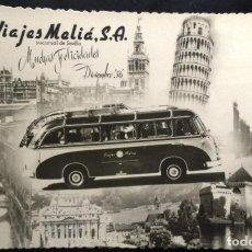 Fotografía antigua: BONITA FOTOGRAFIA TIPO POSTAL VIAJES MELIA, SUCURSAL SEVILLA, FOTO SERRANO SEVILLA. FELIZ AÑO 1956. Lote 79752333