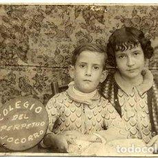 Fotografía antigua: COLEGIO DEL PERPETUO SOCORRO 1934 RETRATO 2 ALUMNOS TAMAÑO POSTAL. Lote 81095304