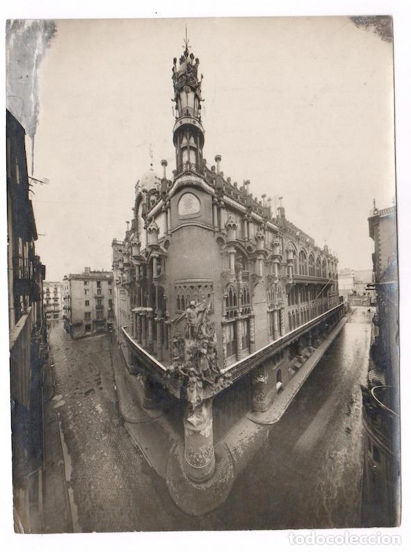 VISTA ANGULAR DEL PALAU DE LA MÚSICA, BARCELONA 1916, MERLETTI FOTO, VER ANOTACIONES REVERSAS. (Fotografía Antigua - Gelatinobromuro)